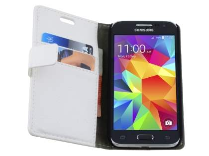 Samsung Galaxy Core Prime Slim Synthetic Leather Wallet Case with Stand - Pearl White
