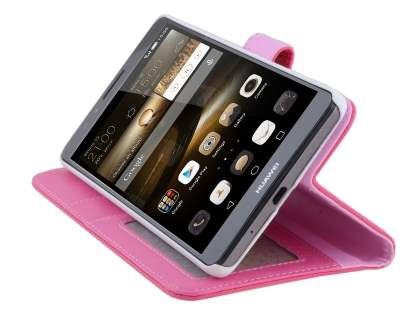 Huawei Ascend Mate7 Synthetic Leather Wallet Case with Stand - Hot Pink