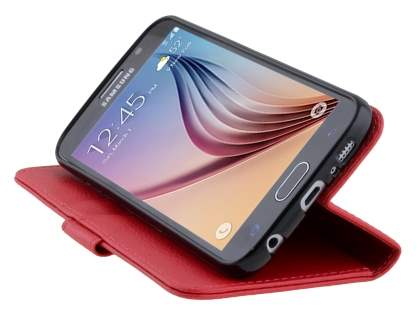 Slim Synthetic Leather Wallet Case with Stand for Samsung Galaxy S6 - Red