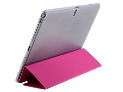 Book-Style Case with Stand for Samsung Galaxy Note 10.1 (2014 Edition) - Hot Pink/Frosted Clear Leather Flip Case