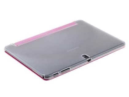 Book-Style Case with Stand for Samsung Galaxy Note 10.1 (2014 Edition) - Hot Pink/Frosted Clear