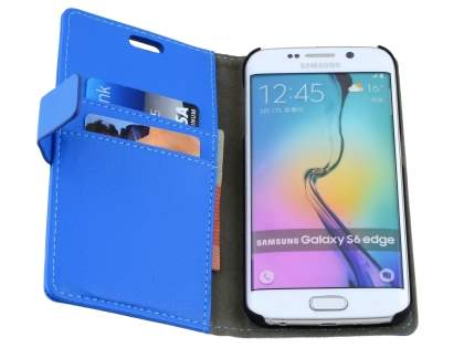 Slim Synthetic Leather Wallet Case with Stand for Samsung Galaxy S6 Edge - Blue