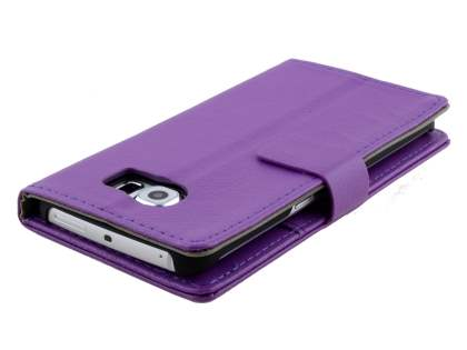 Slim Synthetic Leather Wallet Case with Stand for Samsung Galaxy S6 Edge - Purple