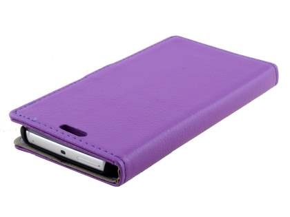 Samsung Galaxy S6 Edge Slim Synthetic Leather Wallet Case with Stand - Purple