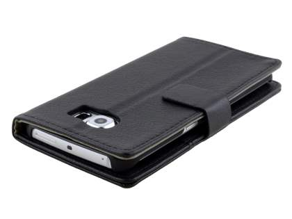 Samsung Galaxy S6 Edge Slim Synthetic Leather Wallet Case with Stand - Classic Black