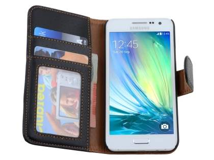 Samsung Galaxy A3 A300F Synthetic Leather Wallet Case with Stand - Classic Black