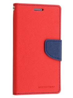 Mercury Goospery Colour Fancy Diary Case with Stand for Samsung Galaxy S6 Edge - Red/Navy Leather Wallet Case