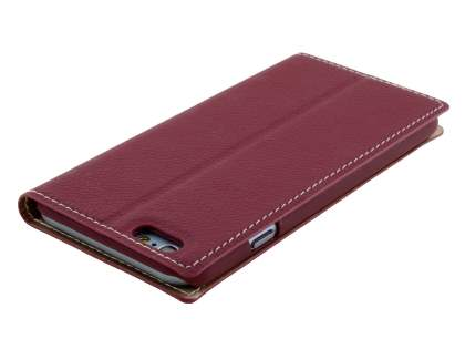 TS-CASE Slim Synthetic Leather Window View Case with Stand for iPhone 6s/6 - Burgundy