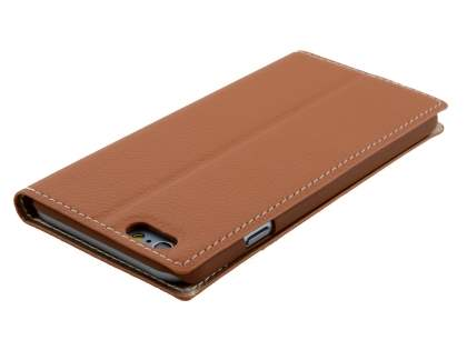 TS-CASE Slim Synthetic Leather Window View Case with Stand for iPhone 6s/6 - Brown