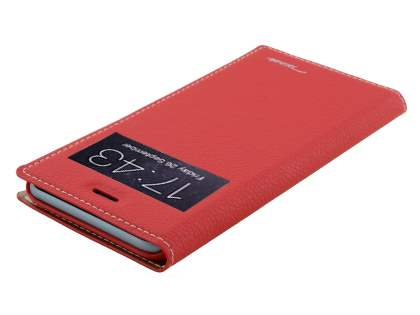 TS-CASE Slim Synthetic Leather Window View Case with Stand for iPhone 6s/6 - Red