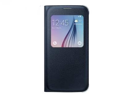 Genuine Samsung Galaxy S6 S-View Premium Cover Case - Blue Black S View Cover