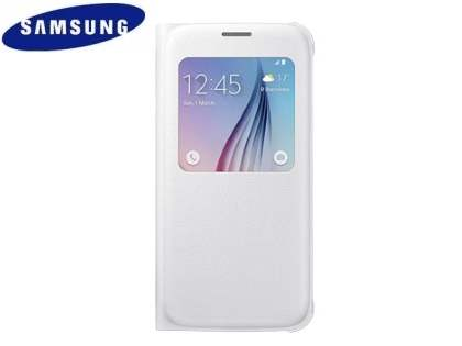 Genuine Samsung Galaxy S6 S-View Premium Cover Case - Pearl White S View Cover
