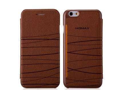 Momax Elite Premium Flip Cover for iPhone 6s/6 - Brown Leather Wallet Case
