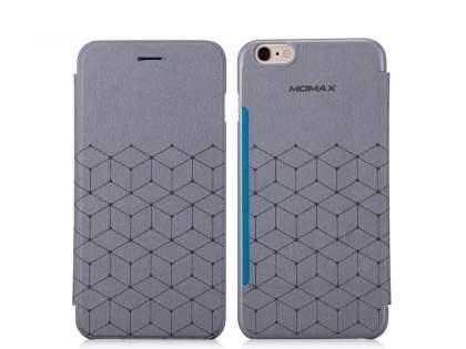 Momax Elite Premium Flip Cover for iPhone 6s/6 - Dim Grey Leather Wallet Case