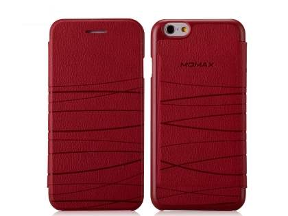 Momax Elite Premium Flip Cover for iPhone 6s/6 - Red Leather Wallet Case
