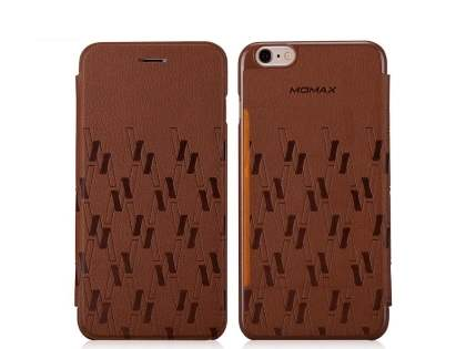 Momax Elite Premium Flip Cover for iPhone 6s Plus/6 Plus - Brown Leather Wallet Case