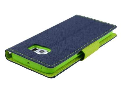 Mercury Colour Fancy Diary Case with Stand for Samsung Galaxy S6 Edge - Navy/Lime