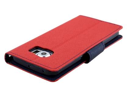 Mercury Colour Fancy Diary Case with Stand for Samsung Galaxy S6 Edge - Red/Navy
