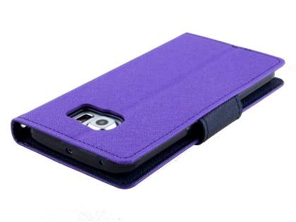 Mercury Colour Fancy Diary Case with Stand for Samsung Galaxy S6 Edge - Purple/Navy