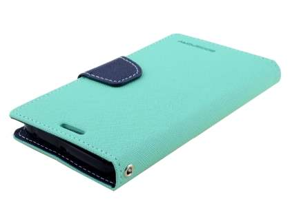 Mercury Colour Fancy Diary Case with Stand for Samsung Galaxy S6 Edge - Mint/Navy