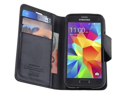 Mercury Goospery Colour Fancy Diary Case with Stand for Samsung Galaxy S5 mini - Classic Black
