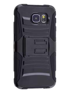 Rugged Case with Holster Belt Clip for Samsung Galaxy S6 - Classic Black Impact Case