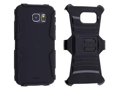 Samsung Galaxy S6 Rugged Case with Holster Belt Clip - Classic Black