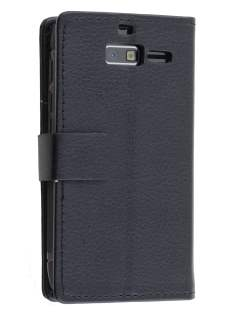 Motorola Razr M Slim Synthetic Leather Wallet Case with Stand - Classic Black Leather Wallet Case