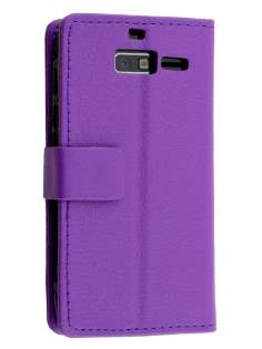 Motorola Razr M Slim Synthetic Leather Wallet Case with Stand - Purple Leather Wallet Case