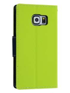 Mercury Goospery Colour Fancy Diary Case with Stand for Samsung Galaxy S6 Edge - Lime/Navy