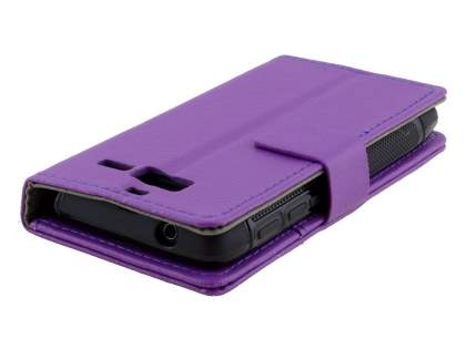 Slim Synthetic Leather Wallet Case with Stand for Motorola Razr M - Purple