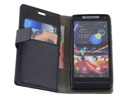 Motorola Razr M Slim Synthetic Leather Wallet Case with Stand - Classic Black