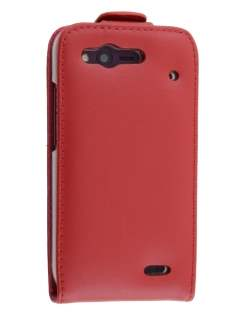 HTC Rhyme Genuine Leather Flip Case - Red Leather Flip Case