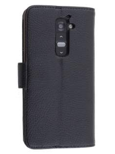 LG G2 Slim Synthetic Leather Wallet Case with Stand - Classic Black Leather Wallet Case