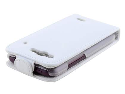 HTC Rhyme Genuine Leather Flip Case - Pearl White