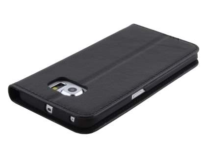 Slim Genuine Textured Leather Wallet Case with Stand for Samsung Galaxy S6 Edge - Classic Black