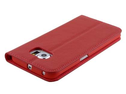 Slim Genuine Textured Leather Wallet Case with Stand for Samsung Galaxy S6 Edge - Red
