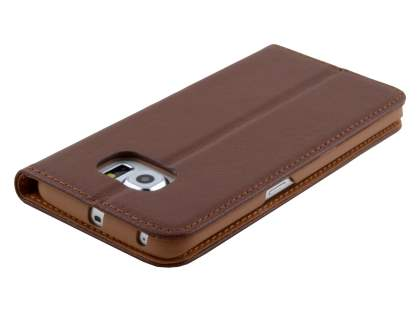 Slim Genuine Textured Leather Wallet Case with Stand for Samsung Galaxy S6 Edge - Brown