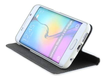 Slim Genuine Textured Leather Wallet Case with Stand for Samsung Galaxy S6 Edge - Pearl White