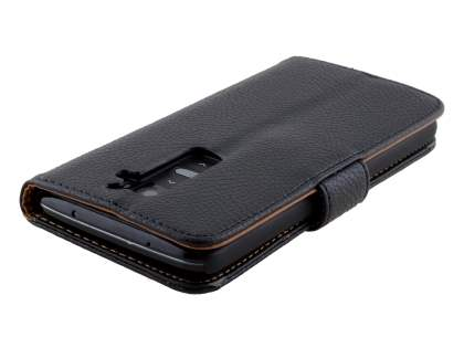LG G2 Slim Synthetic Leather Wallet Case with Stand - Classic Black