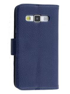 Synthetic Leather Wallet Case with Stand for Samsung Galaxy A3 A300F - Dark Blue Leather Wallet Case