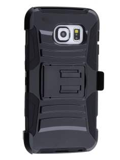 Rugged Case with Holster Belt Clip for Samsung Galaxy S6 Edge - Classic Black Impact Case