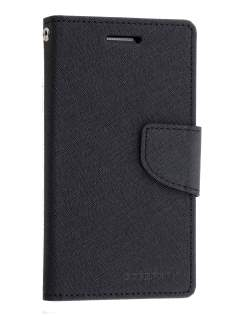 Mercury Goospery Colour Fancy Diary Case with Stand for Samsung Galaxy Alpha - Classic Black Leather Wallet Case