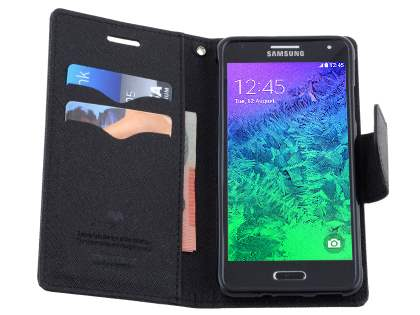 Mercury Goospery Colour Fancy Diary Case with Stand for Samsung Galaxy Alpha - Classic Black