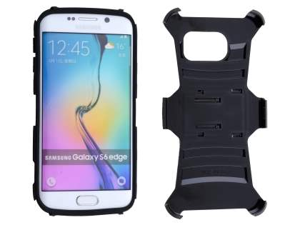 Rugged Case with Holster Belt Clip for Samsung Galaxy S6 Edge - Classic Black