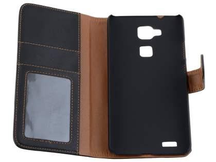 Synthetic Leather Wallet Case with Stand for Huawei Ascend Mate7 - Classic Black
