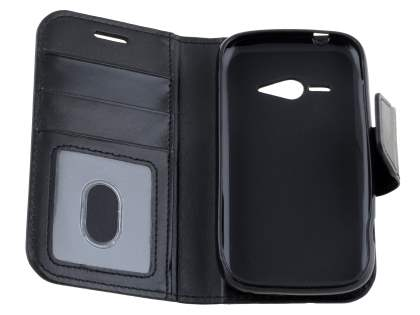 Synthetic Leather Wallet Case for ZTE T80 Telstra Evolution - Classic Black