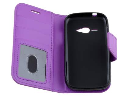 ZTE T80 Telstra Evolution Synthetic Leather Wallet Case - Purple