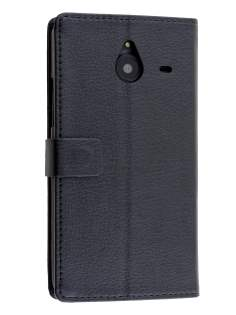 Synthetic Leather Wallet Case for Microsoft Lumia 640 XL - Classic Black Leather Wallet Case