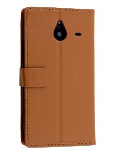 Synthetic Leather Wallet Case for Microsoft Lumia 640 XL - Brown Leather Wallet Case